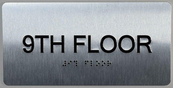 9th Floor Sign- Floor Number Tactile Touch Braille Sign