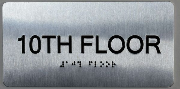 10th Floor Sign- Floor Number Tactile Touch Braille Sign