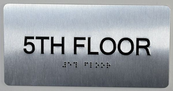 5th Floor Sign- Floor Number Tactile Touch Braille Sign