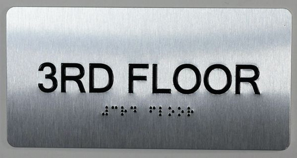 3rd Floor Sign- Floor Number Tactile Touch Braille Sign