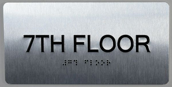 7th Floor Sign- Floor Number Tactile Touch Braille Sign