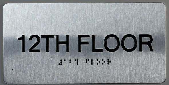 12th Floor Sign -Tactile Signs Tactile Signs  Floor Number Tactile Touch Braille Sign - The Sensation line Ada sign