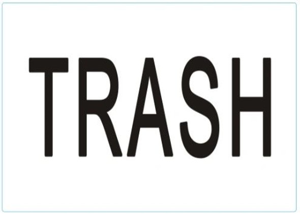 TRASH SIGN (STICKER) WHITE