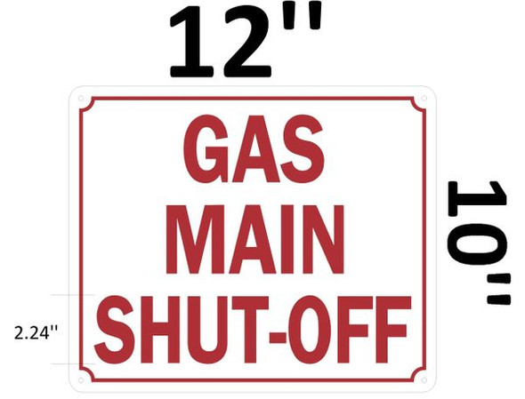 GAS MAIN SHUT-OFF SIGN for Building