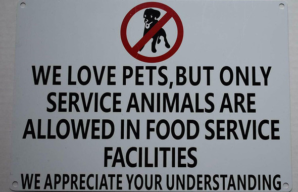 No Pets Allowed in Food Service Facilities Signage