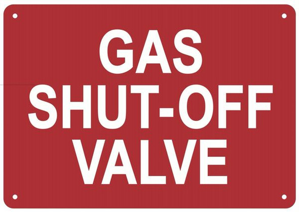 GAS SHUT-OFF VALVE SIGN for Building