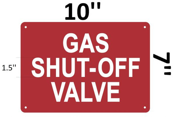 GAS SHUT-OFF VALVE SIGN Red