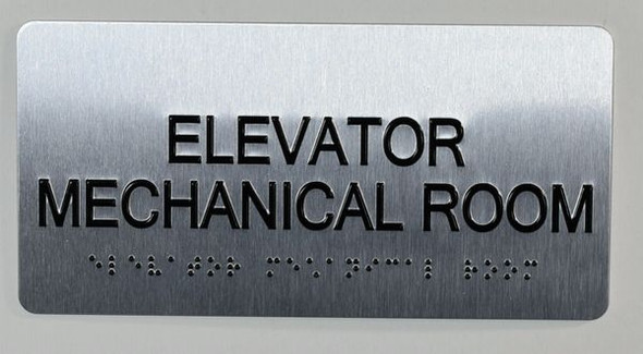 Elevator Mechanical Sign Silver-Tactile Touch Braille Sign