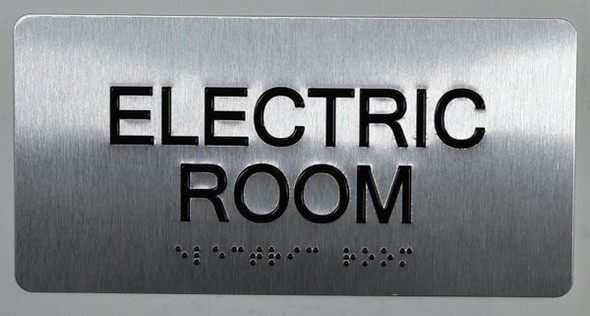 Electric Room Silver-Tactile Touch Braille Sign