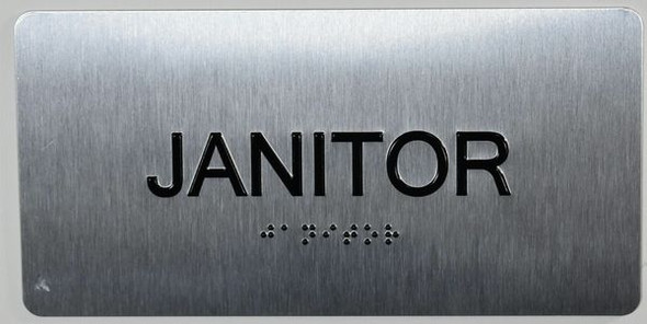 Janitor Sign Silver-Tactile Touch Braille Sign
