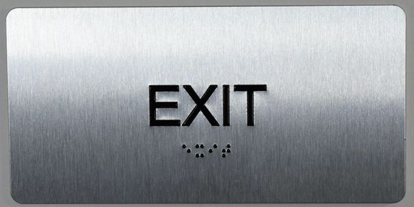 EXIT Sign Silver-Tactile Touch Braille Sign