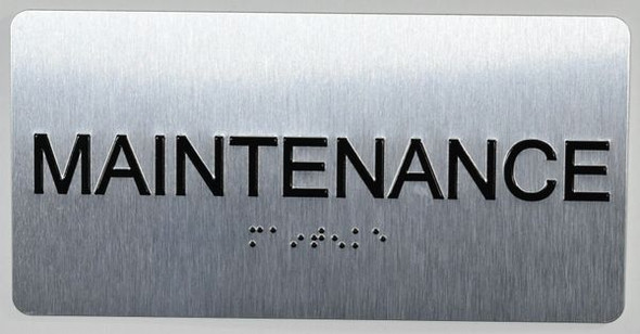 Maintenance Room Sign Silver-Tactile Touch Braille Sign