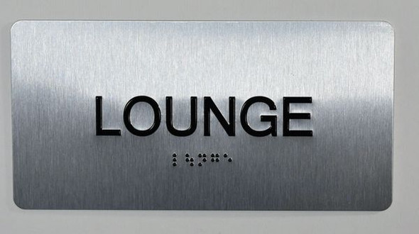 Lounge Sign Silver-Tactile Touch Braille Sign