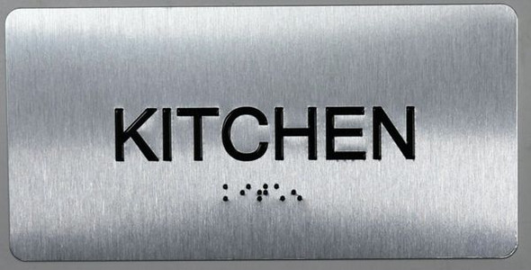Kitchen Sign Silver-Tactile Touch Braille Sign