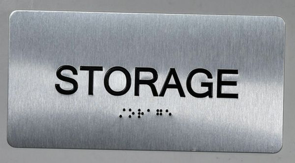 Storage Sign Silver-Tactile Touch Braille Sign