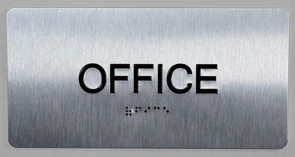Office Sign Silver-Tactile Touch Braille Sign