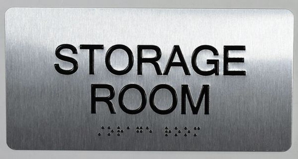 Storage Room Sign Silver-Tactile Touch Braille Sign