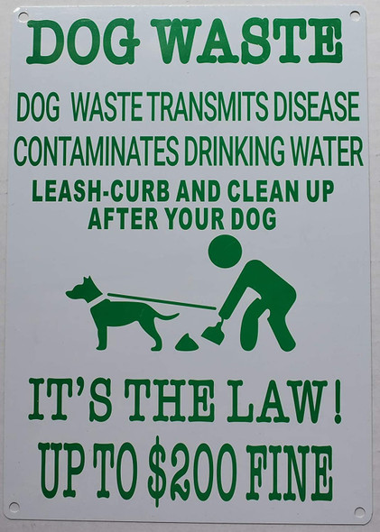 Dog Waste Transmits Disease Contaminates Drinking Water Sign