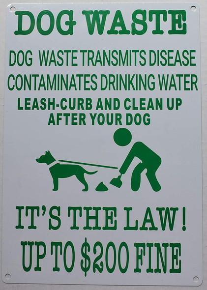 Dog Waste Transmits Disease Contaminates Drinking Water Sign,