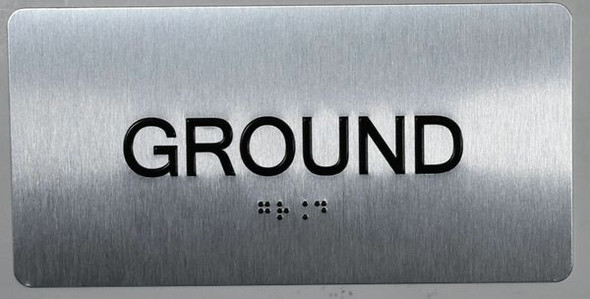 Ground Floor Sign Silver-Tactile Touch Braille Sign