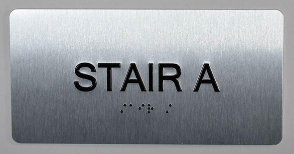 Stair A Sign Silver-Tactile Touch Braille Sign