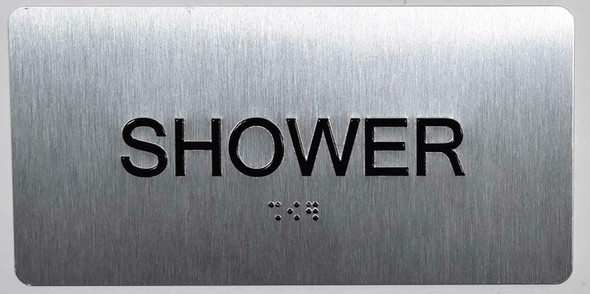 Shower Sign Silver-Tactile Touch Braille Sign