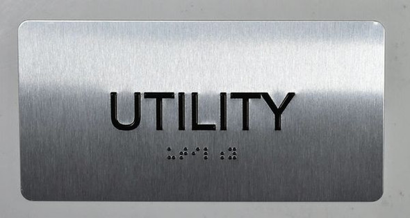 Utility Sign Silver-Tactile Touch Braille Sign