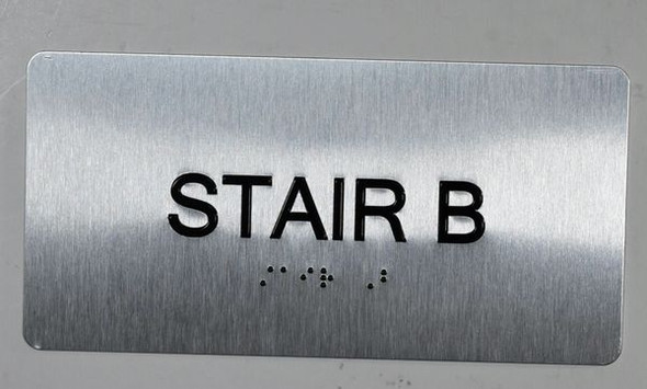 Stair B Sign Silver-Tactile Touch Braille Sign