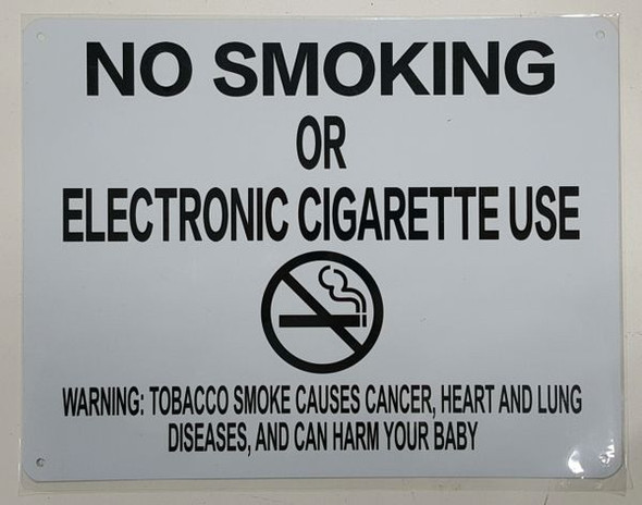 "NYC Smoke free Act Sign ""No Smoking or Electric cigarette Use"" - With Warning"