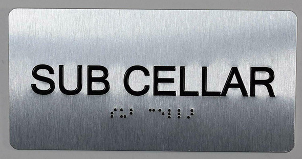 SUB Cellar Floor Number Sign Silver-Tactile Touch Braille Sign
