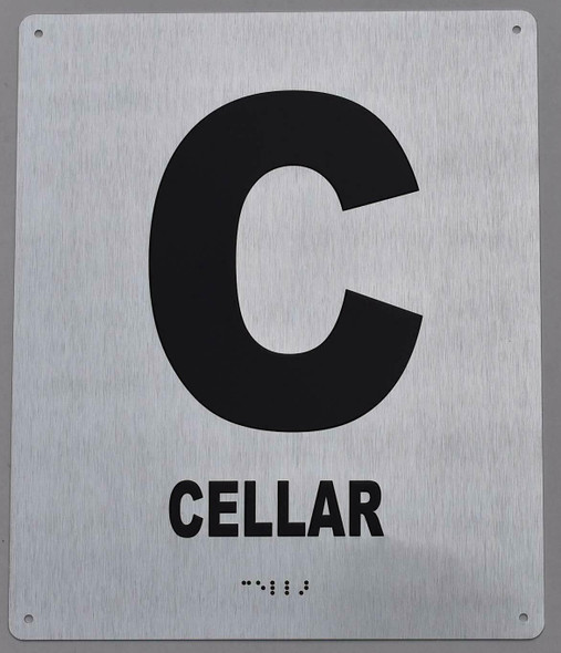 Cellar Floor Number Sign- Tactile Touch Braille Sign