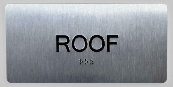 ROOF Floor Number Sign Silver-Tactile Touch Braille Sign