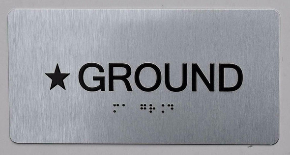 Star Ground Floor Number Sign Silver-Tactile Touch Braille Sign