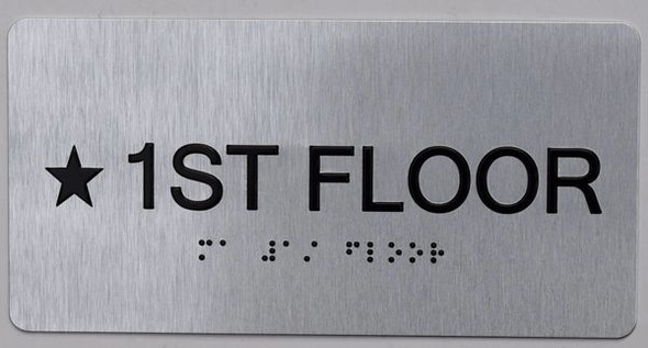 Star Floor Number 1 Sign Silver -Tactile Touch Braille Sign