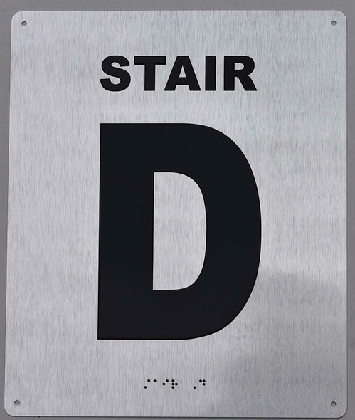 Stair D Sign- Tactile Touch Braille Sign