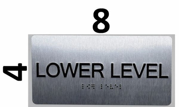 Lower Level Floor Number Sign Silver-Tactile Touch Braille Sign