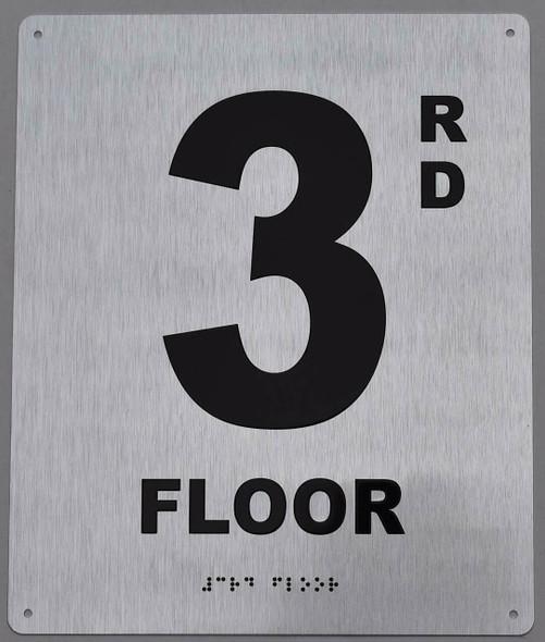 silver floor number sign ada