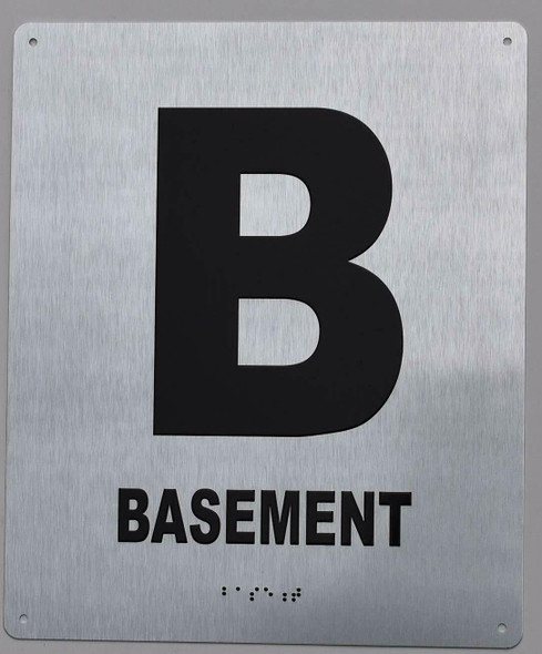 Basement Floor Number Sign- Tactile Touch Braille Sign