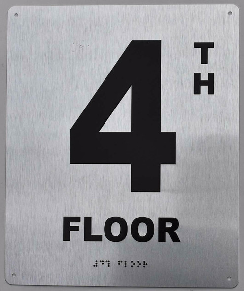 4TH Floor Sign - Floor Number Sign- Tactile Touch Braille Sign