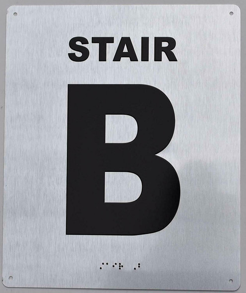 Stair B Sign Silver- Tactile Touch Braille Sign