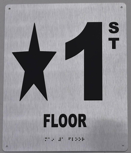 Floor Number Star 1 Sign -Tactile Signs Tactile Signs  Floor Number Sign -Tactile Signs Tactile Signs  Tactile Touch Braille Sign - The Sensation line Ada sign