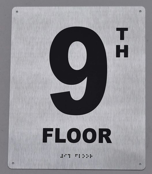 9TH Floor Sign- Floor Number Sign- Tactile Touch Braille Sign
