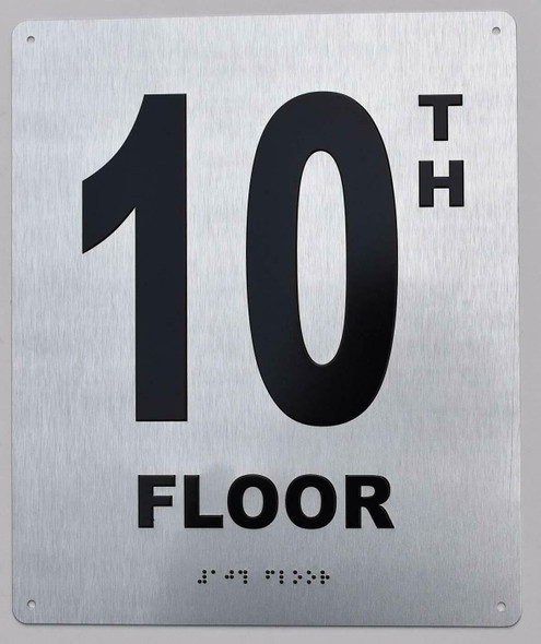 10TH Floor Sign- Floor Number Sign- Tactile Touch Braille Sign