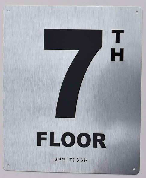 7TH Floor Sign- Floor Number Sign- Tactile Touch Braille Sign