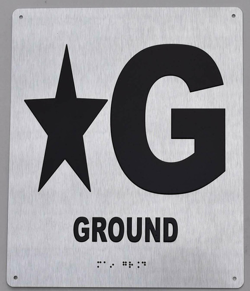 Star Ground Floor Sign- Tactile Touch Braille Sign