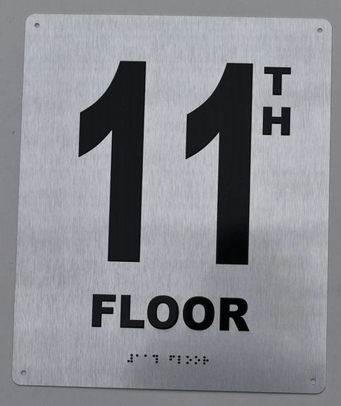 11TH Floor Sign- Floor Number Sign- Tactile Touch Braille Sign