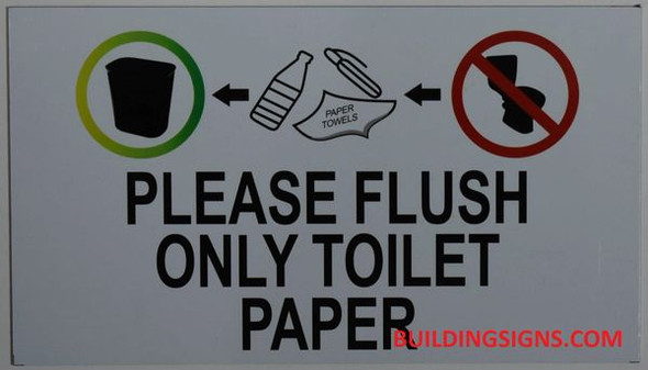 PLEASE FLUSH ONLY TOILET PAPER SIGN BRUSHED ALUMINUM