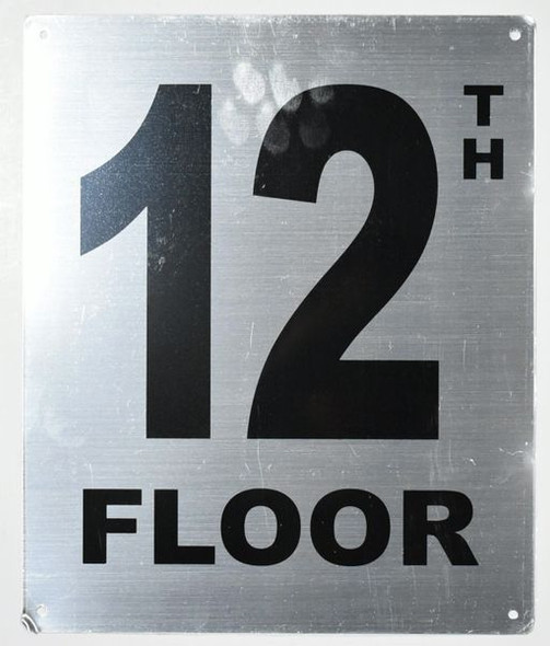 12TH Floor Sign- Floor Number Sign- Tactile Touch Braille Sign
