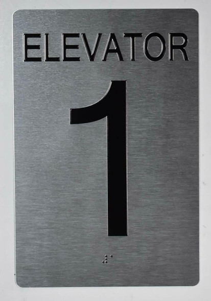 Silver Elevator 1 Sign  - Tactile Touch Braille Sign