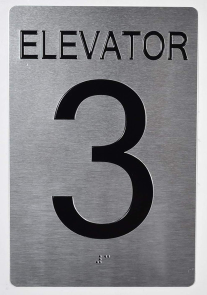 Elevator 3 Sign Silver - Tactile Touch Braille Sign